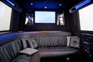 mercedes limo with tv